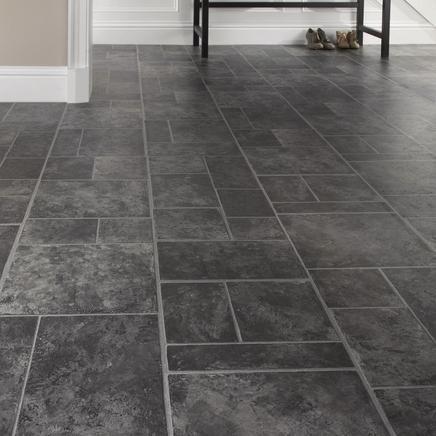 Cushion vinyl flooring home pinterest for Black tile effect vinyl flooring