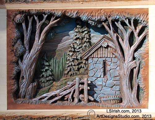 Irish barn 500 386 pixels relief wood for Easy relief carving patterns