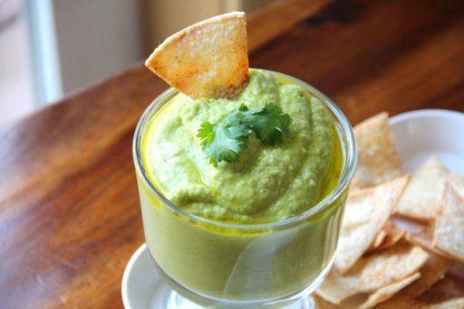 Cilantro Jalapeño Hummus with Baked Tortilla Chips | Recipe