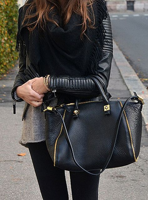 Black Leather + Black Scarf + Black Bag
