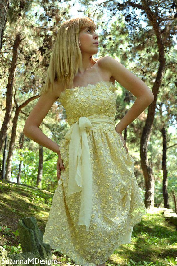 Soft yellow silk wedding dress coctail dress haute couture