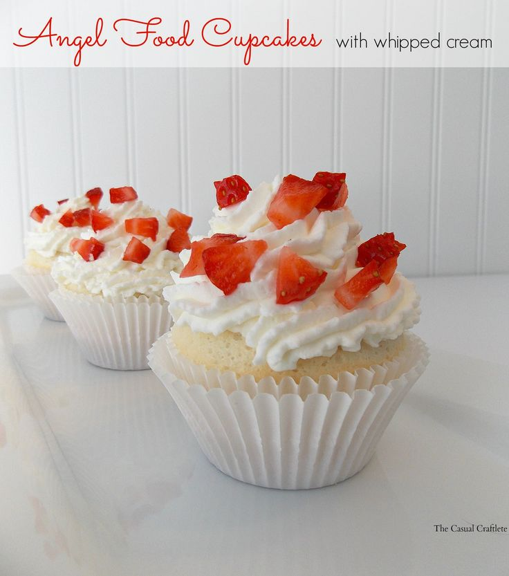 Angel Food Cupcakes with fresh whipped cream. #cupcakes #dessert # ...