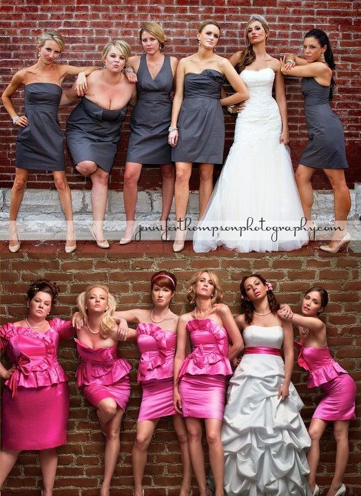 "Get the bride and her girls to pose like the cover of ""Bridesmaids""!"