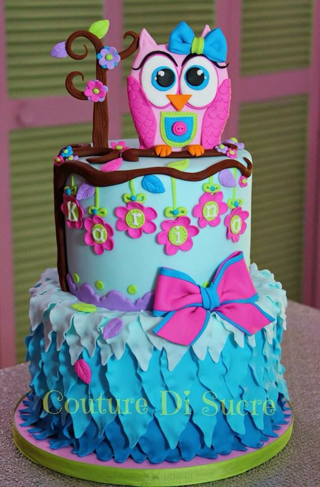 Owl birthday cake very cute!  birthday and cakes and party ideas ...