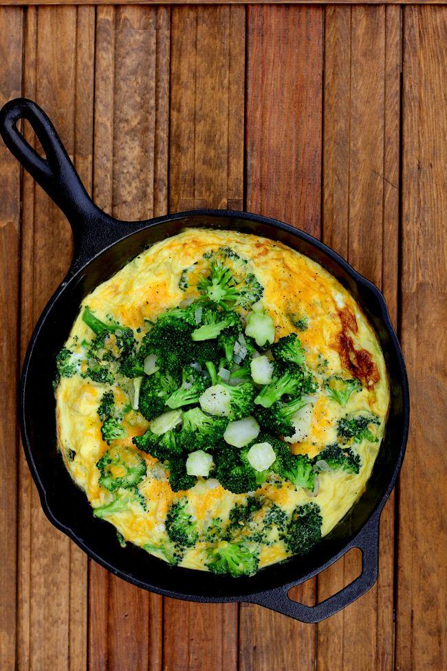 Broccoli & Cheddar Frittata with Marinated Broccoli Stems