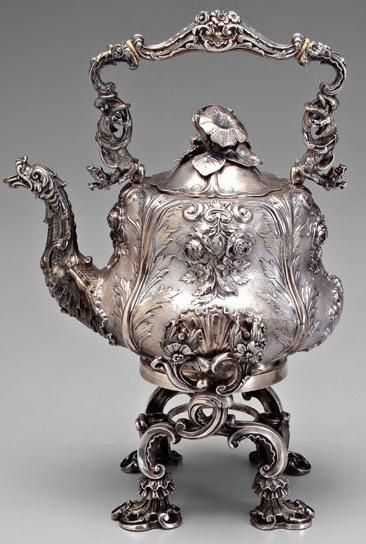 Swan spout - old silver