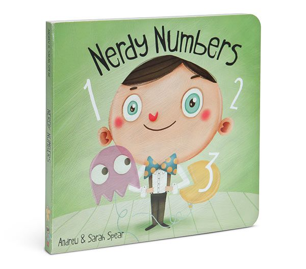 Nerdy Numbers board book. Yes, Pi comes between 3 and 4