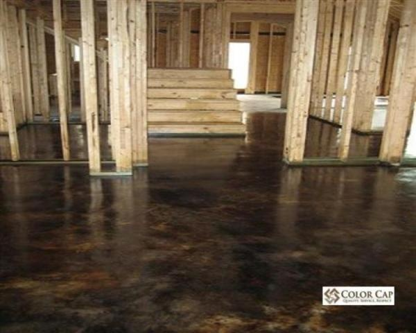 Stained polished concrete flooring industial dream home for Stained polished concrete floor