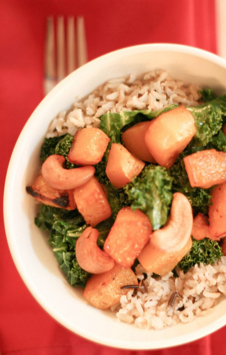 Roasted Butternut Squash + Kale Rice Bowl. Use date syrup instead of ...