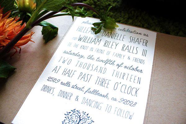 Rustic Backyard Wedding Invitations  Jenafer Brown Designs