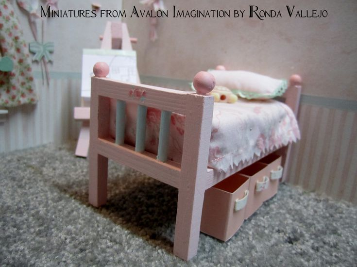 Miniature Dollhouse 1 12 Scale Shabby Chic Girl 39 S Bedroom Furniture In