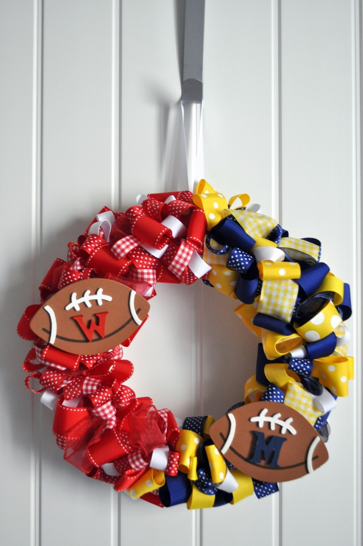 House divided team spirit ribbon wreath- pick your colors  use wooden footballs for the team symbols