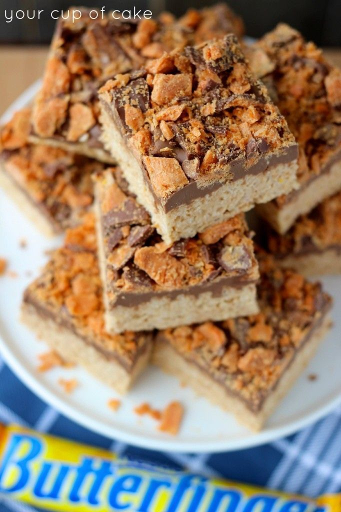 Butterfinger Rice Crispy Treats. | Cakes and Treats | Pinterest