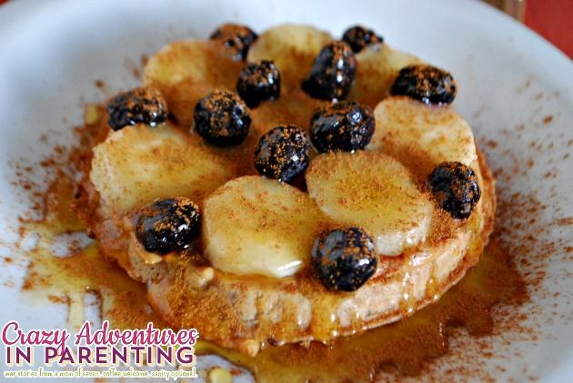 Whole Wheat Peanut Butter Banana Blueberry Waffles | www ...