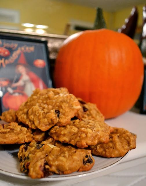 Pumpkin Oatmeal Cookies with White Chocolate Chips and Dried ...