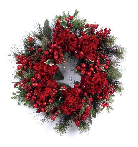 Melrose hydrangea with mix berry wreath 24 inch by melrose 69 39