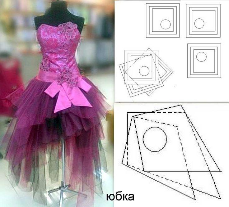 Как сшить юбку хризантему из фатина со шлейфом