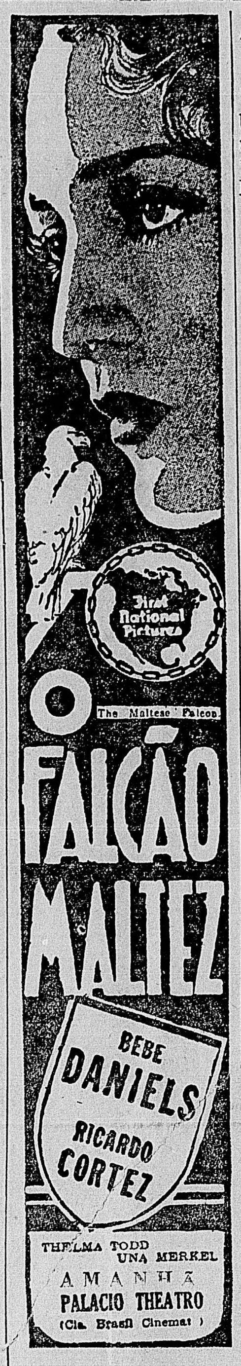 1931 - THE MALTESE FALCON - Roy Del Ruth - (DIARIO CARIOCA, Sunday, January 31, 1932)