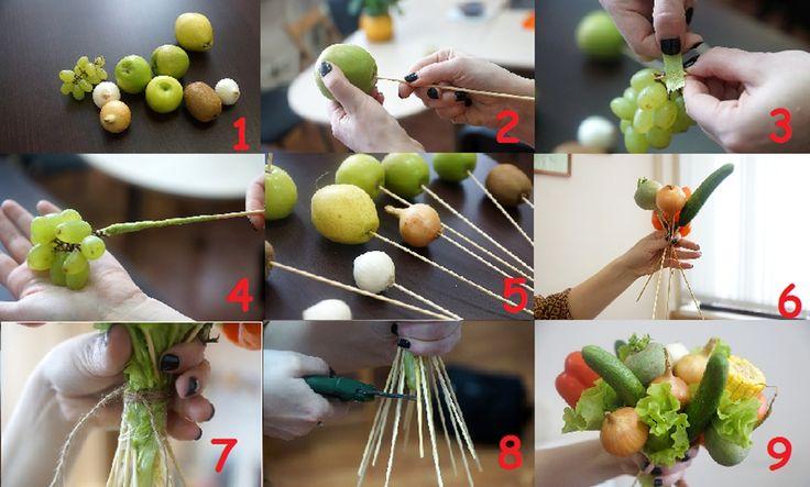 Букет из фруктов пошагово