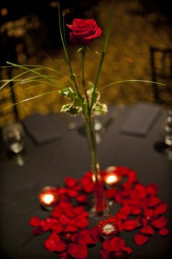 Simply classic single rose centerpiece red wedding