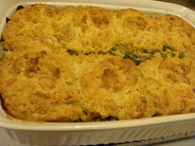 Cheddar Cheese Biscuit Crust Topping for Leftover Chicken, Turkey or ...