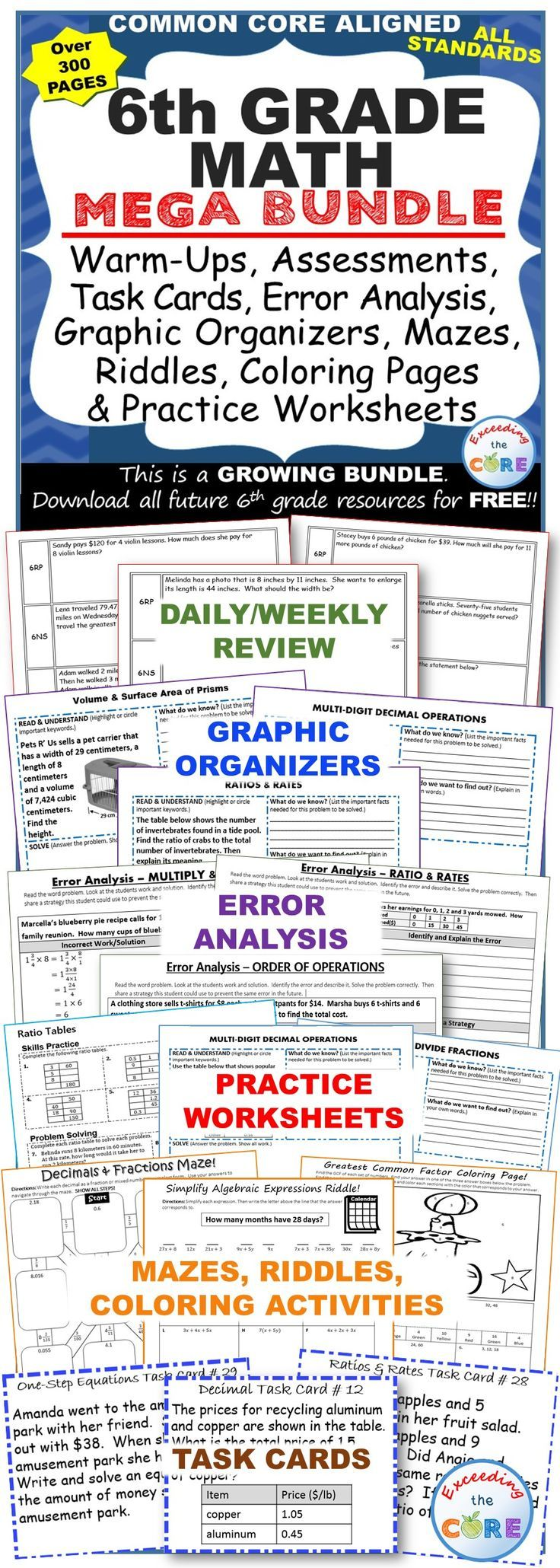 6th grade common core math printable worksheets