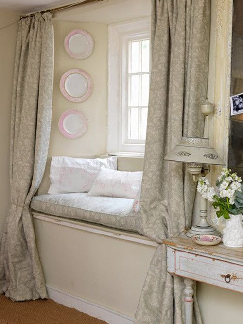 Window seat curtain inspiration fantasy house pinterest Window seat reading nook