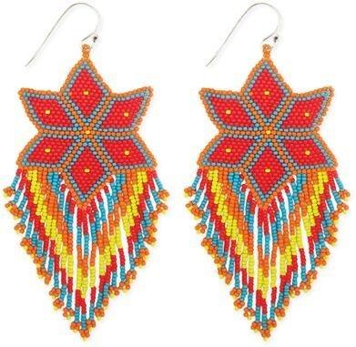 "Zad Peyote Stitch Flower Earrings. Native design seed bead earring. 3 3/4"" long. Zad."