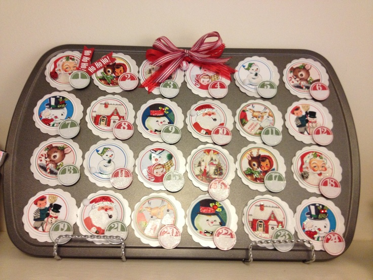 Advent calendar made with a mini muffin pan