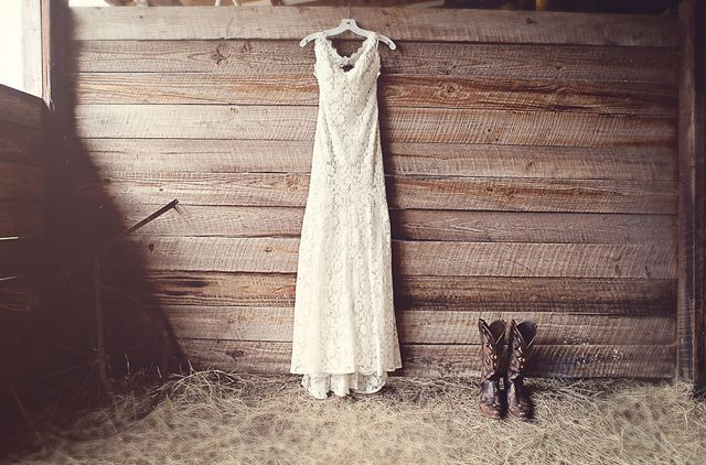 Gorgeous lace dress + cowboy boots, photo by christinakarstphotography.com