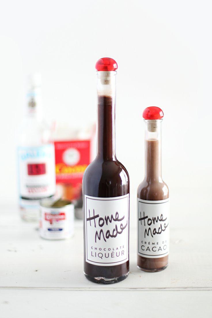 DIY chocolate liqueur with printable labels
