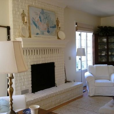 Living Room Painted Brick Fireplace For The Home Pinterest