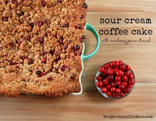 Sour cream coffee cake with cranberry pecan streusel