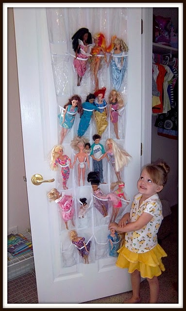 Barbie Organization- genius! Love this idea... you can actually see what you have!