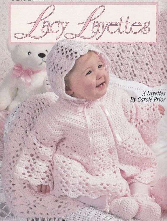 Layer Crocheted Pattern Baby Girl Skirt : Baby Layettes Crochet Patterns - 3 Lacy Sets Afghans Booties