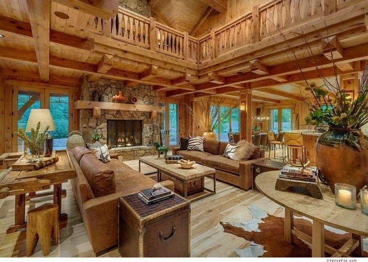 Log Home Living Room Home Living Rooms Pinterest