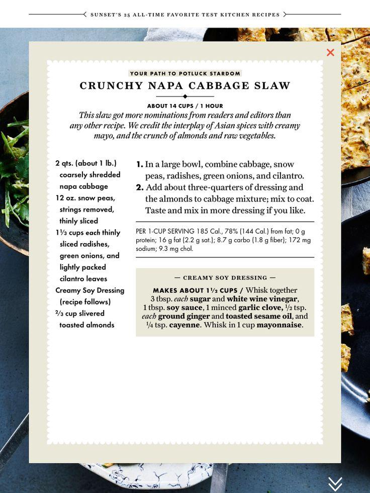 Crunchy Napa cabbage slaw | Recipes: Salads | Pinterest