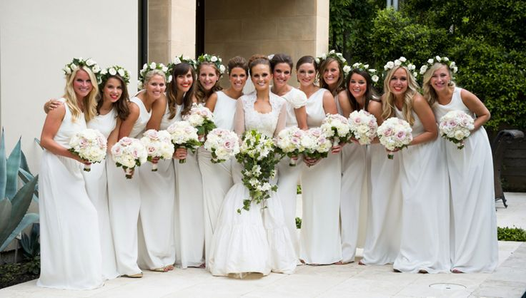 Love The All White Wedding Party The Bridesmaids Make It Bright Beautiful And Fun