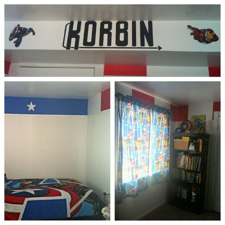 Korbin avengers theme bedroom 6 year old avengers pinterest - Avengers bedroom ...