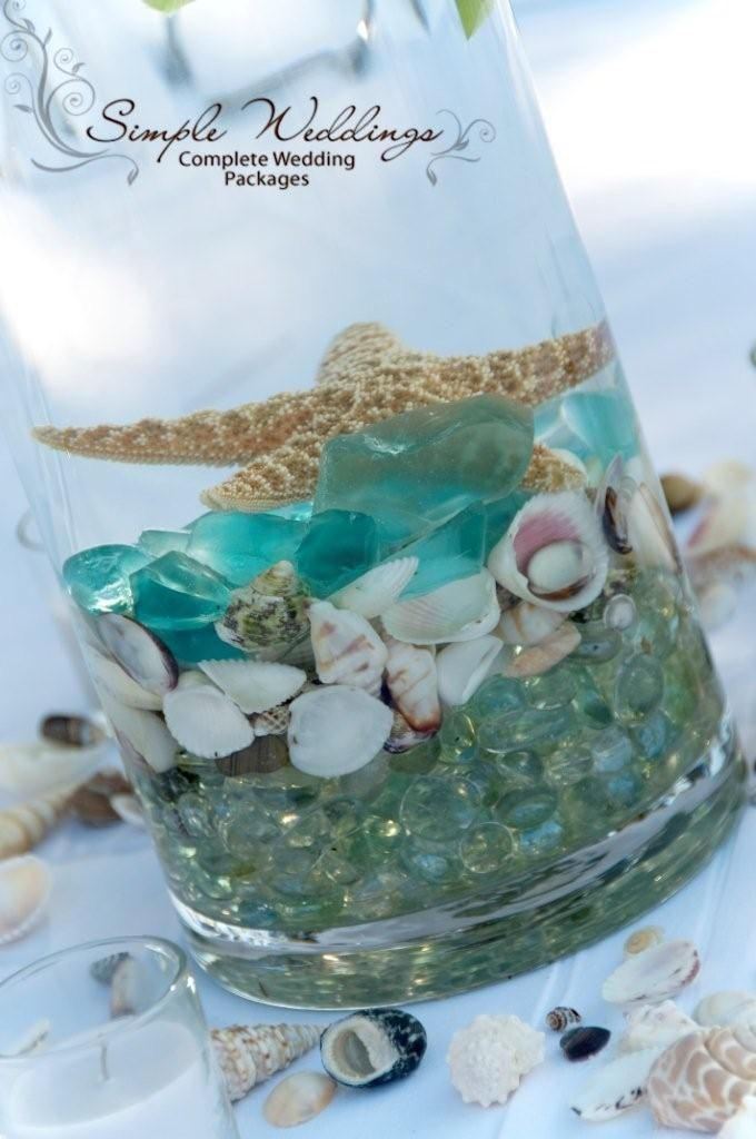Beach centerpiece with teal colors, sea shells, and a starfish