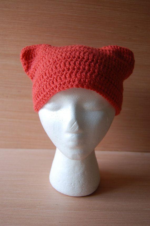 Coral Cat Ear Crochet Beanie