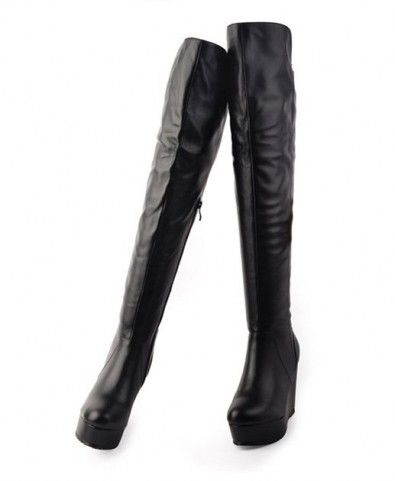 wedge heel thigh high real leather boots