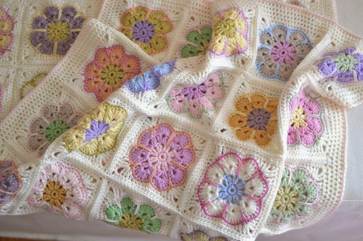 African Flower Crochet Baby Blanket Pattern : african flower crocheted baby blanket baby Pinterest