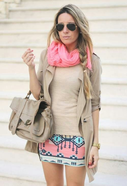 Fashion - I like the tri-color look. Mostly a neutral beige with the pink and blue to 'pop'.