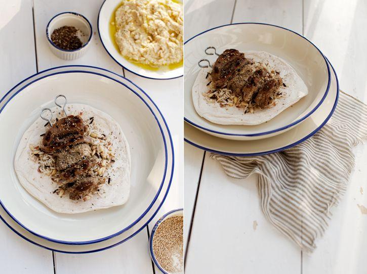 middle eastern feast - homemade pita, hummus, lamb kebab