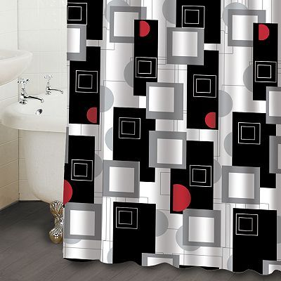 Black And Red Bathroom Shower Curtain