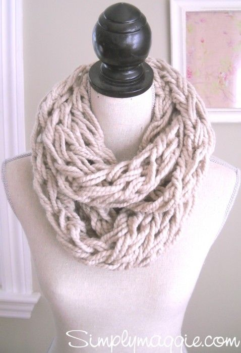 Learn to Arm Knit - make this great scarf!