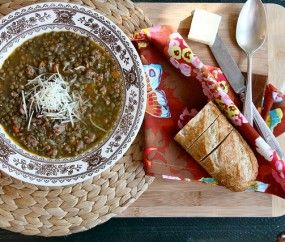 Spicy lentil soup. I made this using the 9 bean soup mix from Costco ...