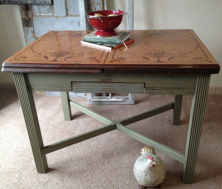 1940s enamel top kitchen table vintage