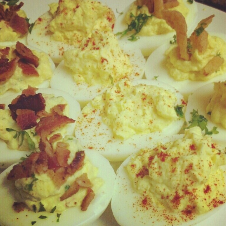 Deviled Egg Trio. BLT: Deviled eggs prepared with heirloom tomato ...
